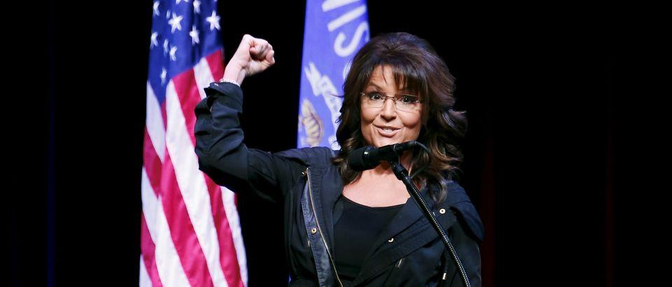 Former Alaska Gov. Sarah Palin speaks during a Town Hall at the Racine Civic Centre Memorial Hall April 2, 2016. REUTERS/Kamil Krzaczynski