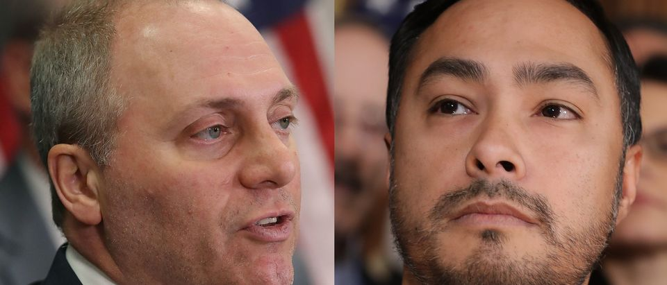 Left: House Majority Whip Steve Scalise Right: Democratic Texas Rep. Joaquin Castro [Left: Mark Wilson/Getty Images Right: Chip Somodevilla/Getty Images]