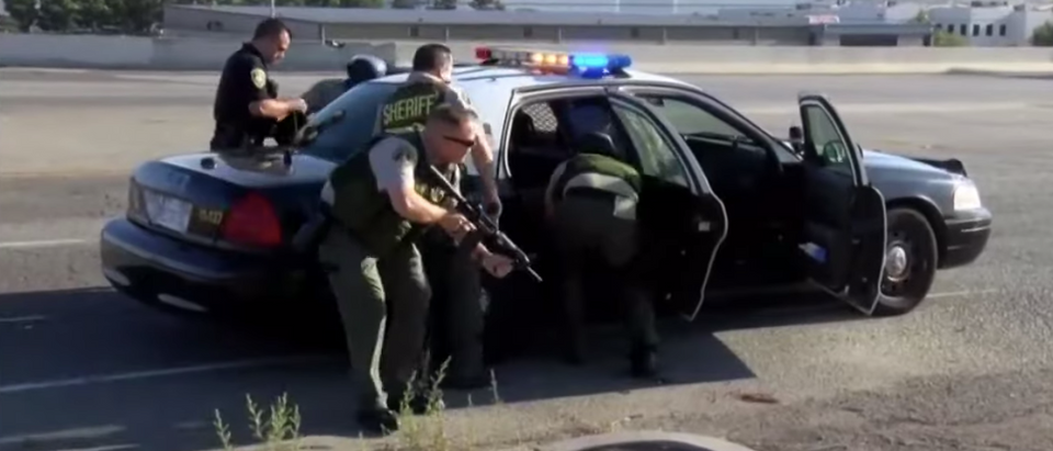 Shootout on the 215 in Riverside kills CHP officer, suspect/ CBS 8 San Diego/ YouTube
