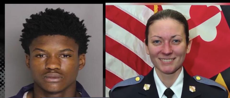 Dawnta Harris and Officer Amy Caprio/WMAR-2 News YouTube screenshot