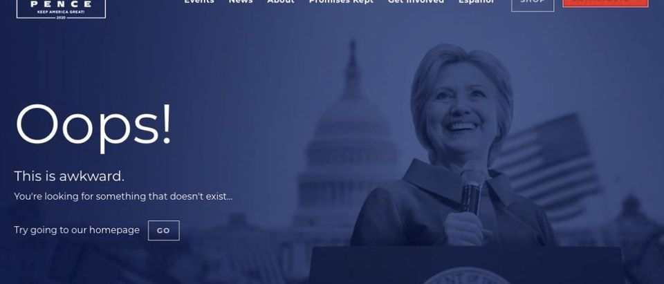 Trump Trolls Hillary with error page