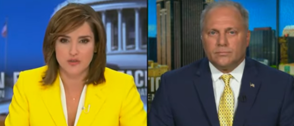"Margaret Brennan and Steve Scalise on ""Face the Nation"" Daily Caller Screenshot Hayden Daniel https://www.youtube.com/watch?v=JWmD2pIe5SA)"