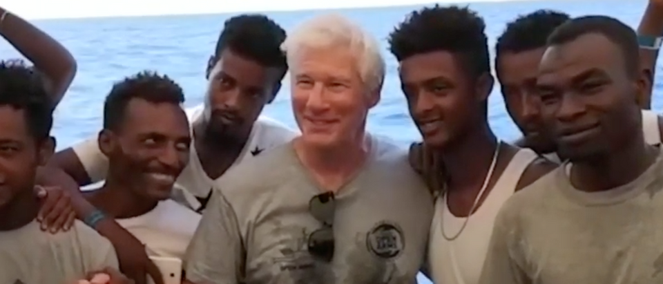 Taking time out from his Tuscany vacation Richard Gere delivered supplies to boats in the Mediterranean transporting migrants into Europe. Daily Caller News Foundation