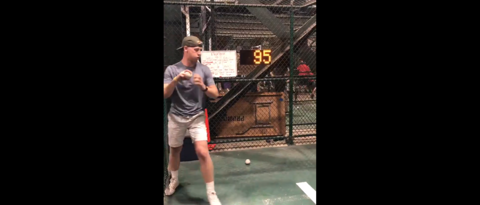 Random fan Nathan Patterson delivers 96 mph fastball during pitching challenge (Twitter/Screenshot/Public - User: @cpatterson_7)
