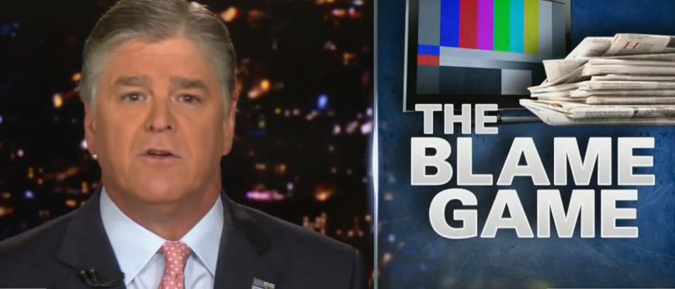 Sean Hannity addressing mass shooting blame game (Fox News screengrab)