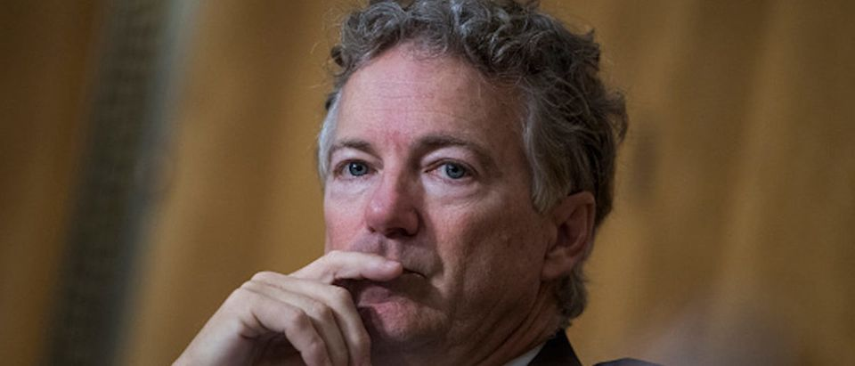 Sen. Rand Paul, R-Ky., attends the Senate Foreign Relations Committee confirmation hearing for CIA Director Mike Pompeo, nominee for secretary of state, in Dirksen Building on April 12, 2018
