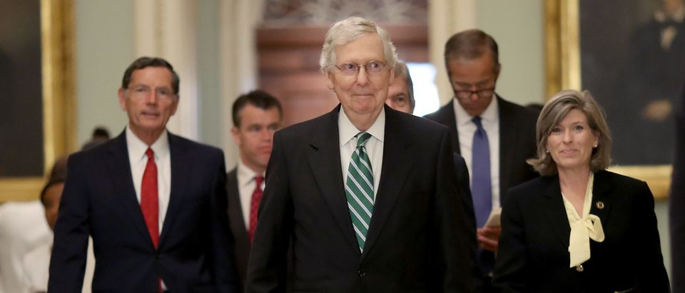 Senate Majority Leader Mitch McConnell (R-KY) walks to a press conference on July 30, 2019. (Win McNamee/Getty Images)