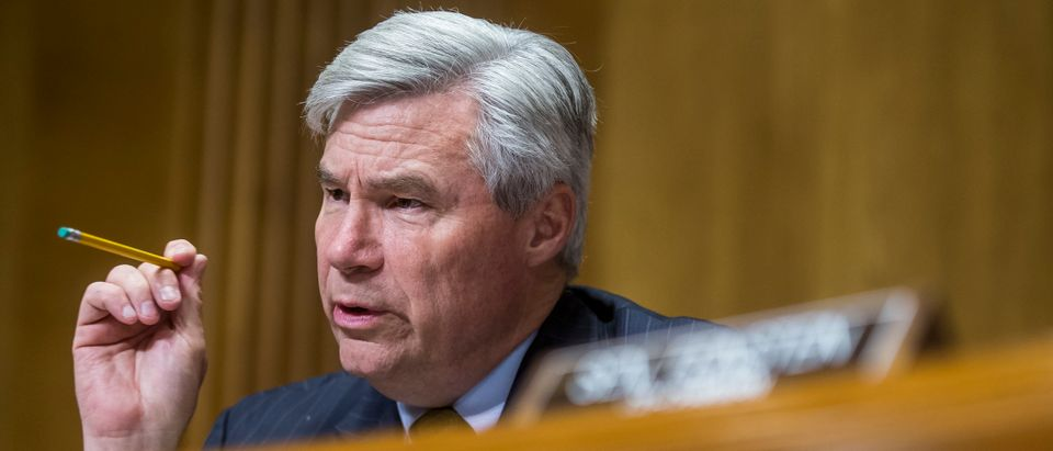 Sen. Sheldon Whitehouse questions U.S. Secretary of State Mike Pompeo during a Senate hearing on June 11, 2019. (Zach Gibson/Getty Images)