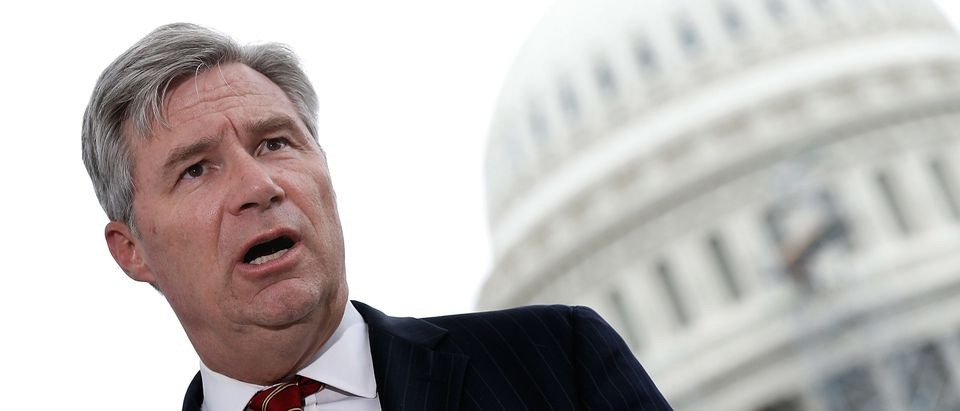 Sen. Sheldon Whitehouse (D-RI) discusses a constitutional amendment relating to campaign finance outside the U.S. Capitol on September 8, 2014. (Win McNamee/Getty Images)