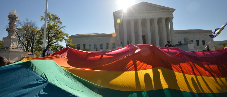 Supporters of same-sex marriage gather outside the Supreme Court on April 28, 2015. (Mladen Antonov/AFP/Getty Images)