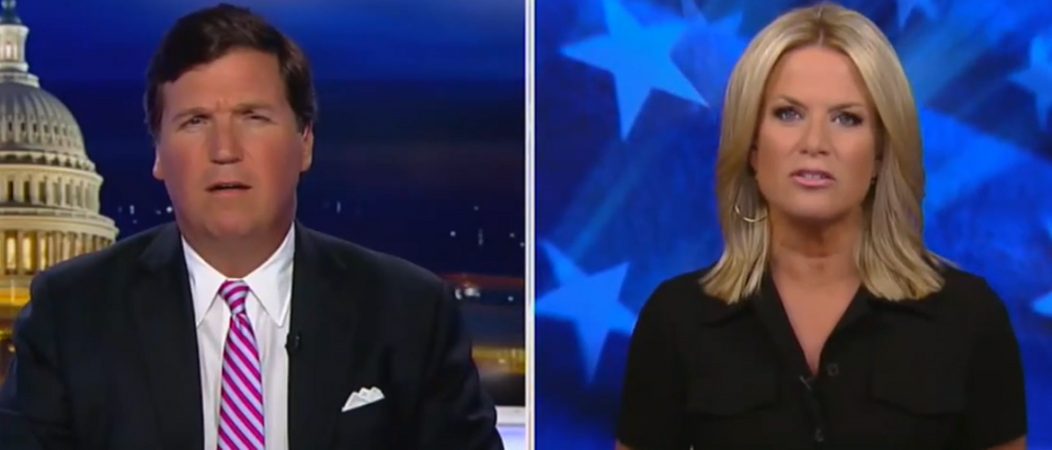 Tucker Carlson talks to Martha MacCallum about Byrne interview (Fox News screengrab)