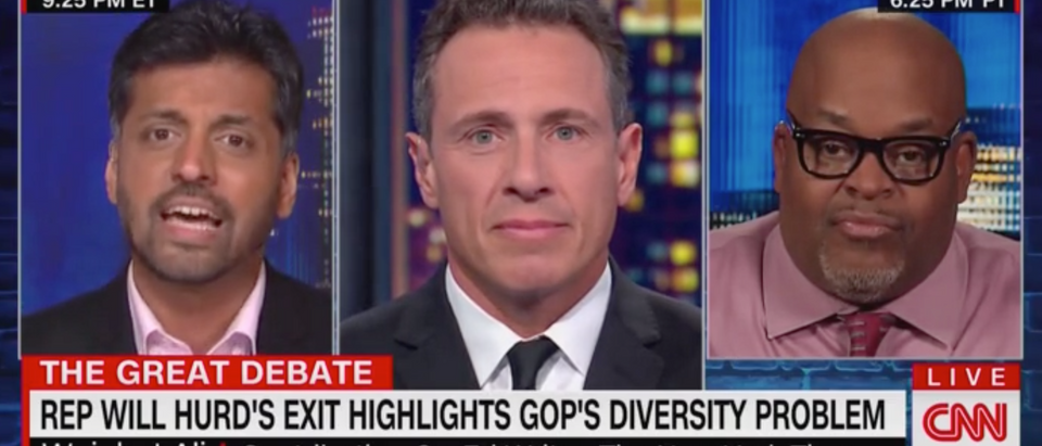 CNN's Chris Cuomo hosts debate between Wajahat Ali and Niger Innis. Screen Shot/CNN