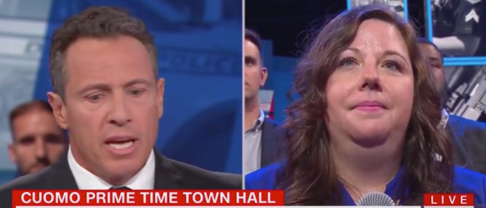 Theresa Inacker appears on CNN's gun violence town hall with host Chris Cuomo. Screen Shot/CNN