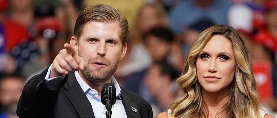 Eric Trump and Lara Trump speak before a U.S. President Donald Trump campaign kick off rally at the Amway Center in Orlando, Florida, U.S., June 18, 2019. Picture taken June 18, 2019. REUTERS/Carlo Allegri