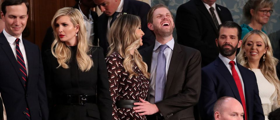 White House advisers Jared Kushner (L) and Ivanka Trump stand with her brother Eric and his wife Lara as well as her brother Donald Trump Jr. and sister Tiffany as they await the start of U.S. President Donald Trump's second State of the Union February 5, 2019. REUTERS/Jonathan Ernst