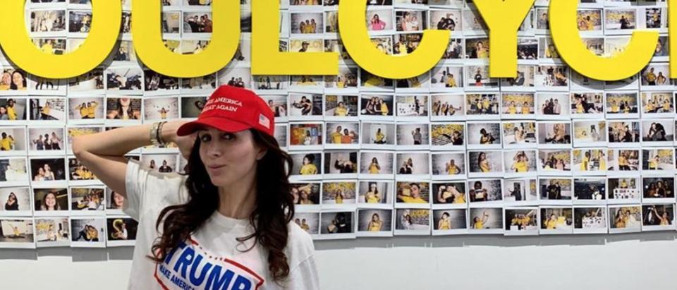 Former 'Apprentice' Erin Elmore hits Philadelphia SoulCycle in MAGA gear. Instagram/@erinmelmore