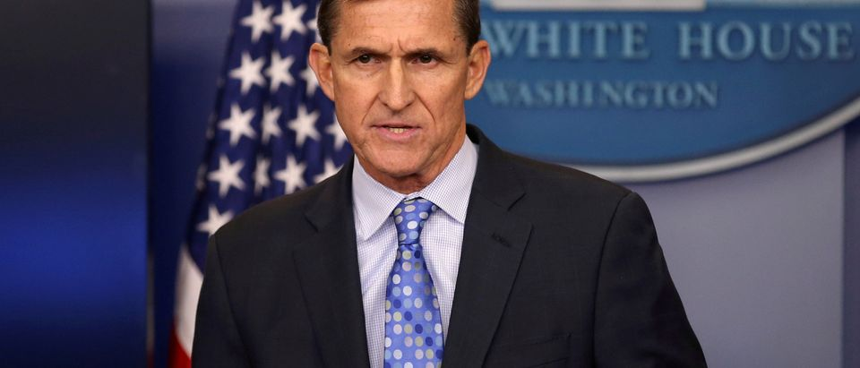 Then national security adviser General Michael Flynn delivers a statement daily briefing at the White House in Washington