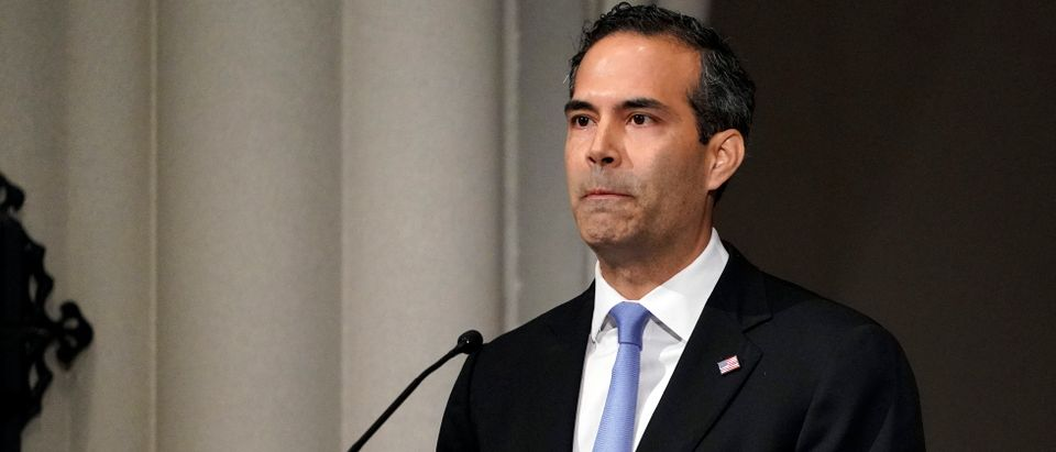 George P. Bush pauses as he gives a eulogy during the funeral for former President George H.W. Bush at St. Martin's Episcopal Church, on December 6, 2018 in Houston, Texas. (David J. Phillip-Pool/Getty Images)