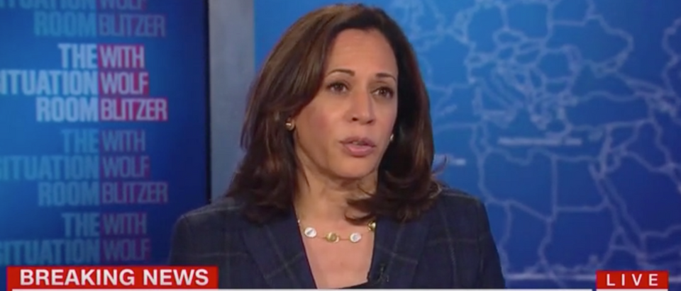 Sen. Kamala Harris discusses gun control with Wolf Blitzer. Screen Shot/CNN