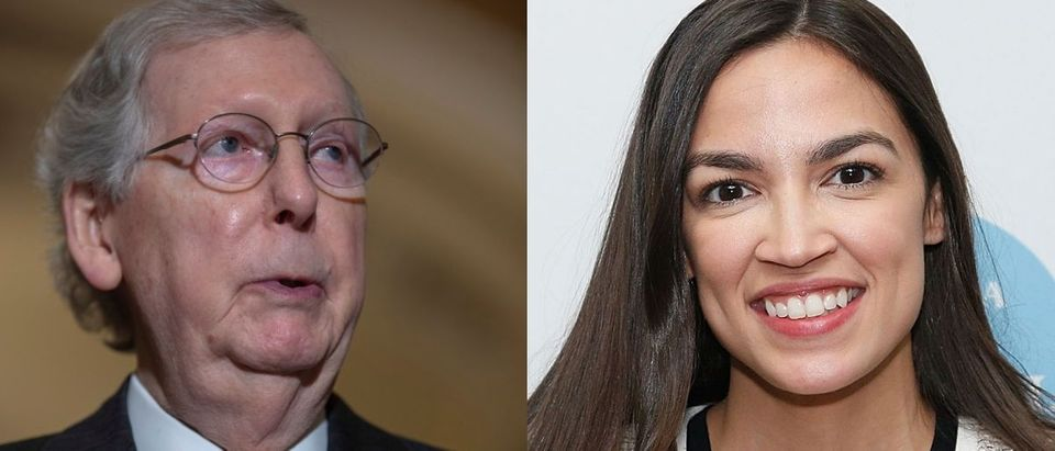 "Senate Majority Leader Mitch McConnell's (L) campaign manager responded to accusations from Democratic New York Rep. Alexandria Ocasio-Cortez (R) that he is paying ""for young men to practice groping"" on Aug. 5, 2019. Tasos Katopodis/Getty Images and Lars Niki/Getty Images for The Athena Film Festival"