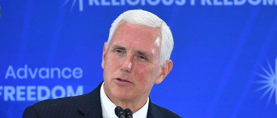 US Vice President Mike Pence speaks during the second Ministerial to Advance Religious Freedom in the Loy Henderson Auditorium of the State Department in Washington, DC, on July 18, 2019. (MANDEL NGAN/AFP/Getty Images)