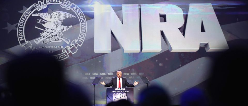 The NRA endorsed Trump at the convention May 20, 2016. (Photo by Scott Olson/Getty Images)