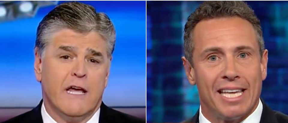 "Fox News host Sean Hannity defended CNN's Chris Cuomo after an outburst over being called ""Fredo."" (Screenshot Youtube Fox News/Screenshot YouTube CNN)"