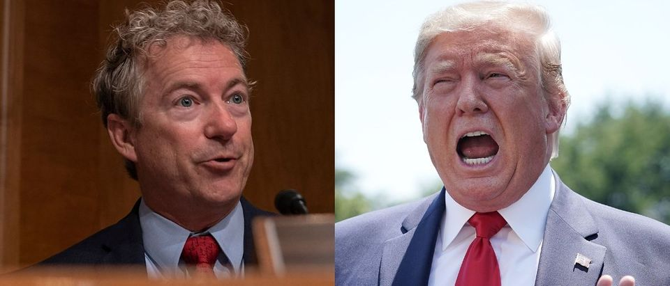 Republican Kentucky Sen. Rand Paul is not a fan of the budget deal touted by President Donald Trump that passed the Senate on Aug. 1, 2019. Tasos Katopodis/Getty Images and Chip Somodevilla/Getty Images