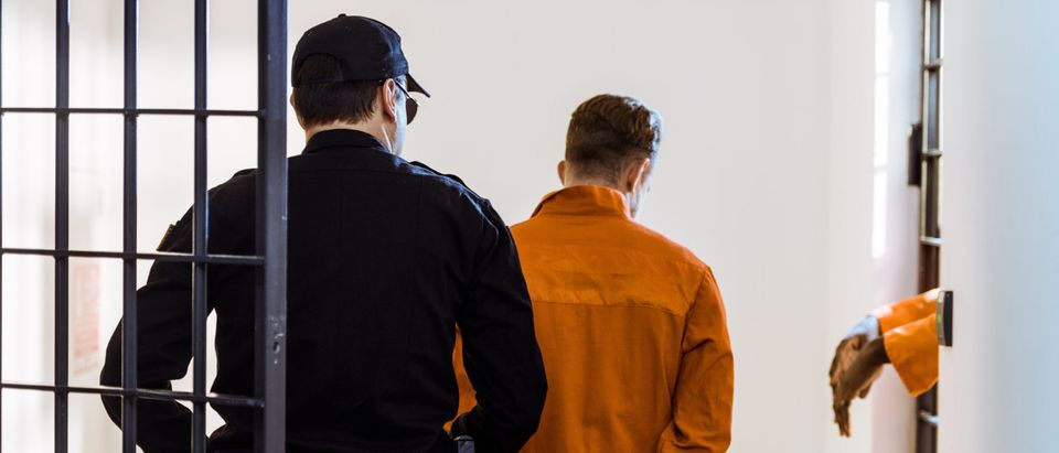 back view of security guard leading criminal in handcuffs (LightField Studios/Shutterstock)