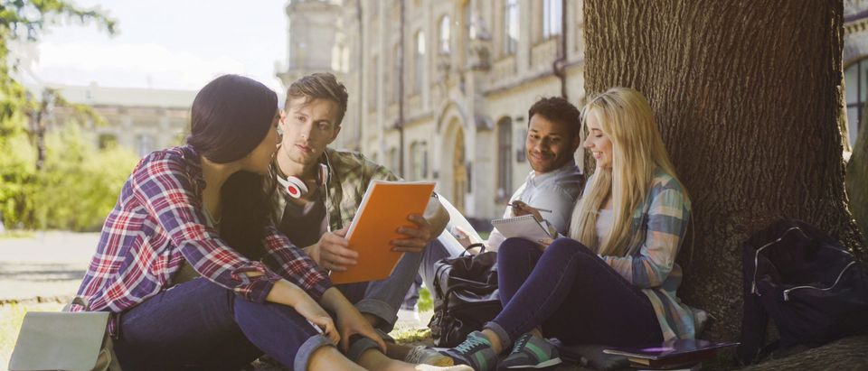College students pictured in front of academic building/Shutterstock