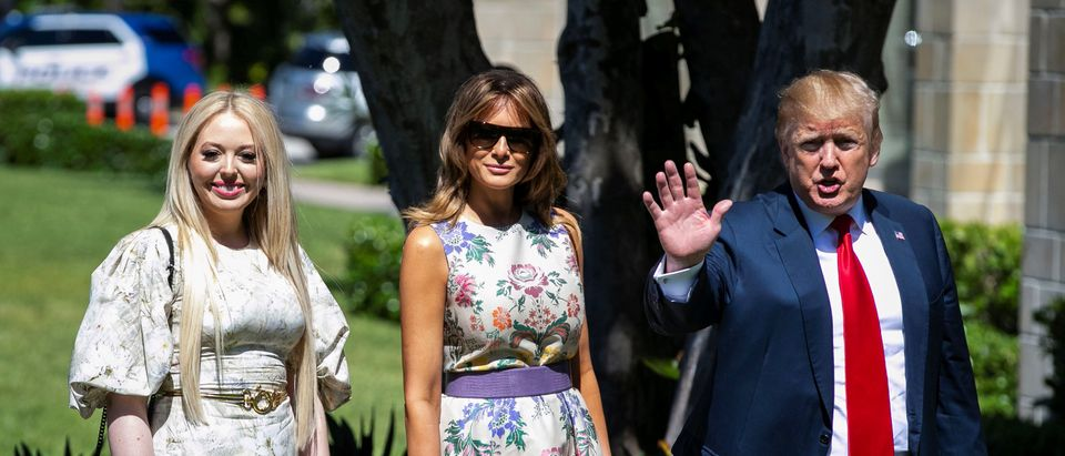 U.S. President Donald Trump waves as he arrives with first lady Melania Trump and Tiffany Trump for the Easter service at Bethesda-by-the-Sea Episcopal Church in Palm Beach, Florida, U.S., April 21, 2019. REUTERS/Al Drago