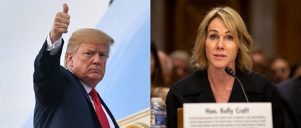 President Donald Trump congratulated his nominee for U.S. ambassador to the United Nations, Kelly Craft, on Twitter Thursday following her confirmation Wednesday. MANDEL NGAN/AFP/Getty Images and Stefani Reynolds/Getty Images