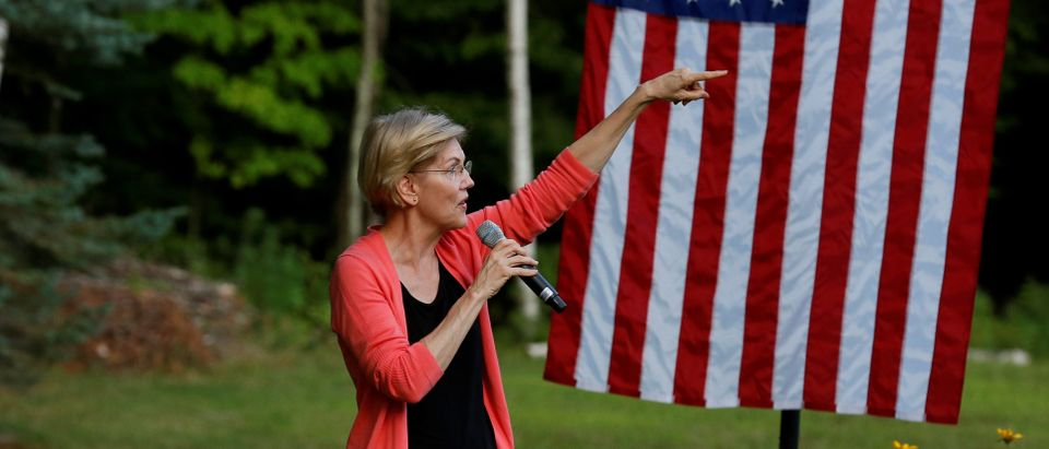 2020 Democratic U.S. presidential candidate and U.S. Senator Elizabeth Warren (D-MA) speaks to voters at a campaign house party in Wolfeboro, New Hampshire, U.S., August 14, 2019. REUTERS/Elizabeth Frantz