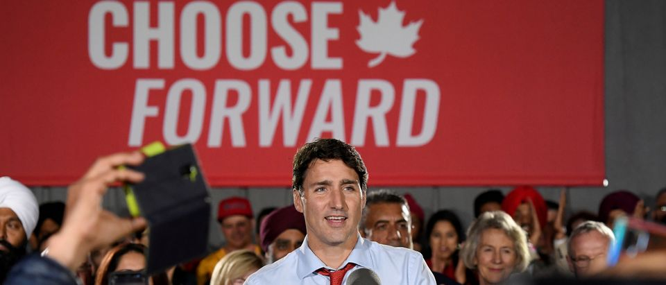 FILE PHOTO: Canada's Prime Minister Justin Trudeau makes an election campaign stop in Surrey