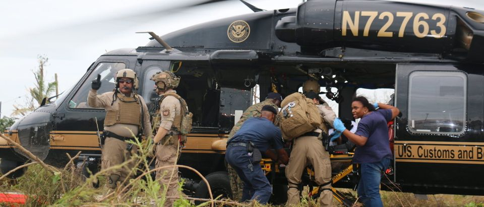 A U.S Customs and Border Protection (CBP) Air and Marine Operations (AMO) Black Hawk crew deployed from the Miami Air and Marine Branch to the Bahamas on Sept. 3, 2019. CBP photo by Keith Smith