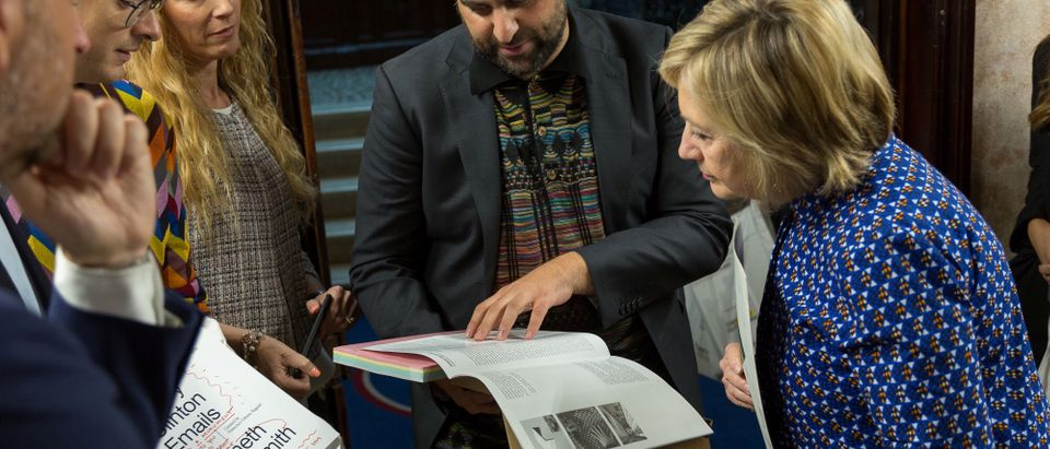 Former U.S. presidential candidate Hillary Clinton is seen at an art exhibition, where she read out her leaked emails, in Venice