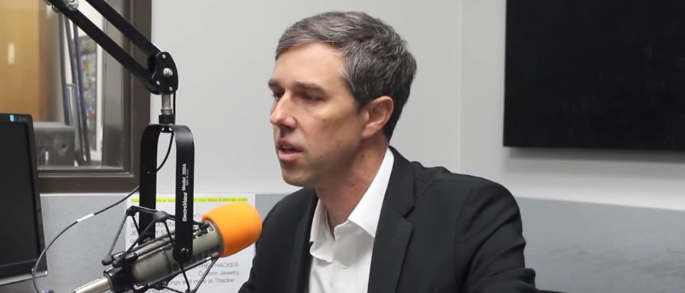 """Beto O'Rourke gives interview on """"The Chad Hasty Show,"""" Lubbock, Tex., April 9, 2018. (YouTube screen capture/KFYO)"""