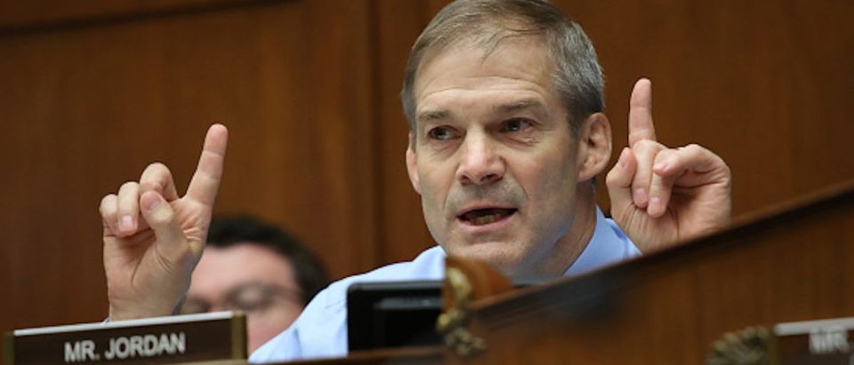 Committee ranking member Rep. Jim Jordan (R-OH) questions acting Homeland Security Secretary Kevin McAleenan while he testifies before the House Oversight and Reform Committee on July 18, 2019 in Washington, DC