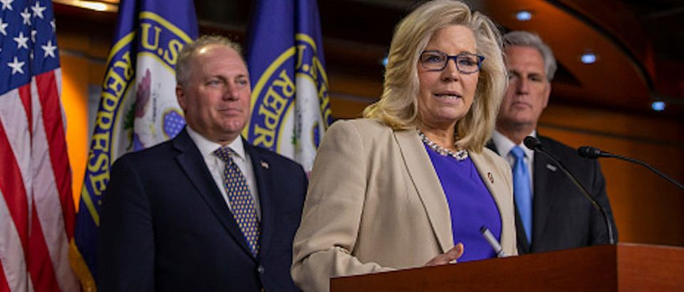 Conference Chair Liz Cheney (R-WY) speaks to reporters during a press conference on September 18, 2019 in Washington, DC