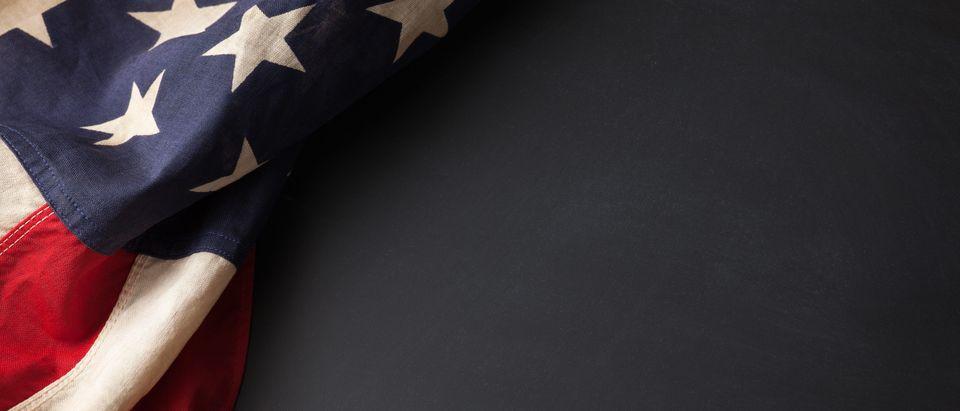 Vintage American flag on a chalkboard