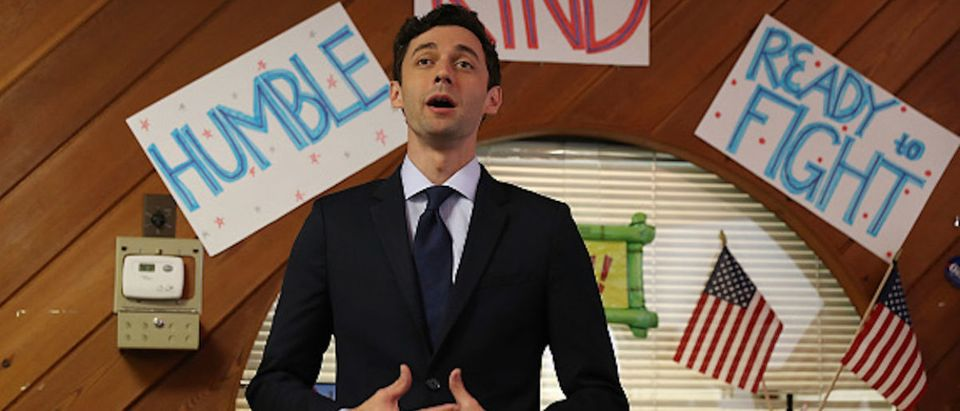 Democratic candidate Jon Ossoff speaks during a visit to a campaign office to speak with volunteers and supporters on election day as he runs for Georgia's 6th Congressional District on June 20, 2017 in Sandy Springs, Georgia