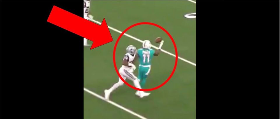 Devante Parker (Credit: Screenshot/Twitter video https://twitter.com/thecheckdown/status/1175818638349066241)