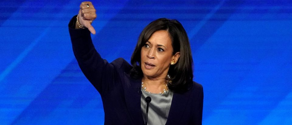 Sen. Kamala Harris gives a thumbs down as she speaks during the 2020 Democratic U.S. presidential debate in Houston, Texas, U.S., Sept. 12, 2019. REUTERS/Mike Blake