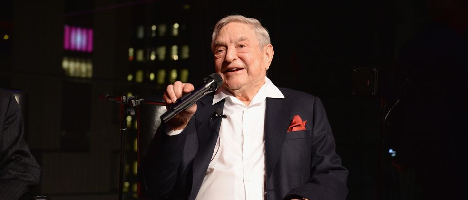 NEW YORK, NY - APRIL 18: George Soros speaks onstage at the PHR 2017 Gala at Jazz at Lincoln Center on April 18, 2017 in New York City. (Photo by Andrew Toth/Getty Images for Physicians for Human Rights)
