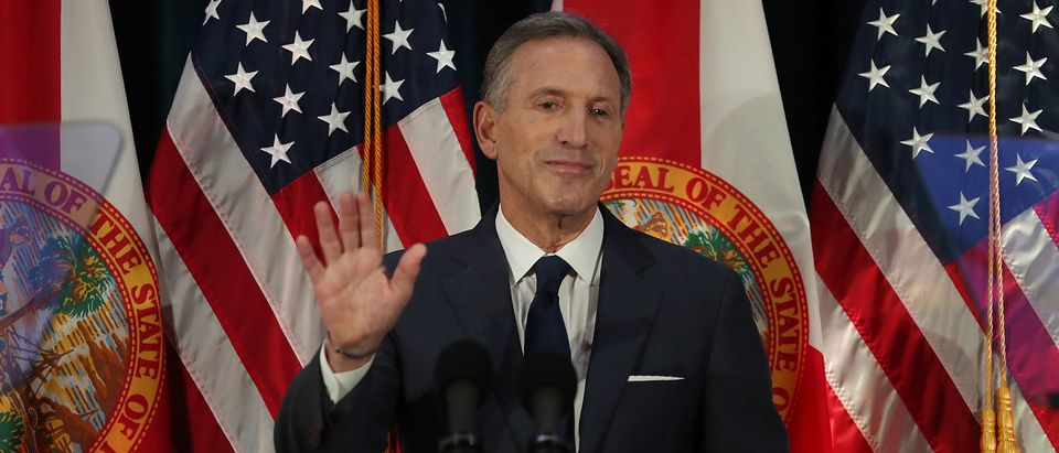 Former Starbucks CEO Howard Schultz speaks during a stop at Miami Dade College as he seeks a possible independent presidency run on March 13, 2019 in Miami, Florida. (Joe Raedle/Getty Images)