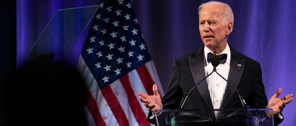 WASHINGTON, DC - APRIL 09: Former U.S. Vice President Joe Biden delivers remarks during the National Minority Quality Forum on April 9, 2019 in Washington, DC. Biden was awarded the lifetime achievement award from the National Minority Quality Forum summit on Health disparities. (Photo by Alex Edelman/Getty Images)
