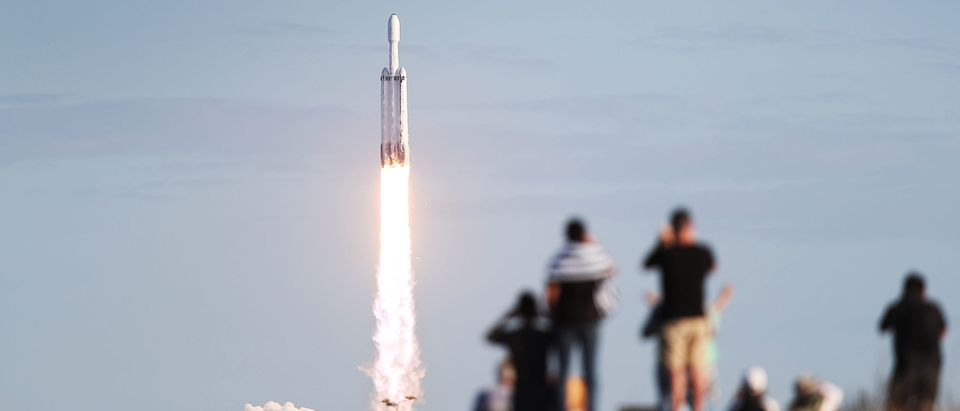 SpaceX Falcon Heavy Rocket Launches Communications Satellite