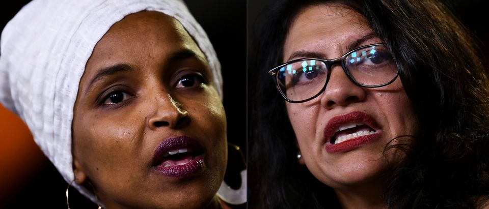 (COMBO) This combination of pictures created on August 15, 2019 shows Democrat US Representatives Ilhan Abdullahi Omar (L) and Rashida Tlaib during a press conference, to address remarks made by US President Donald Trump earlier in the day, at the US Capitol in Washington, DC on July 15, 2019. (BRENDAN SMIALOWSKI/AFP/Getty Images)