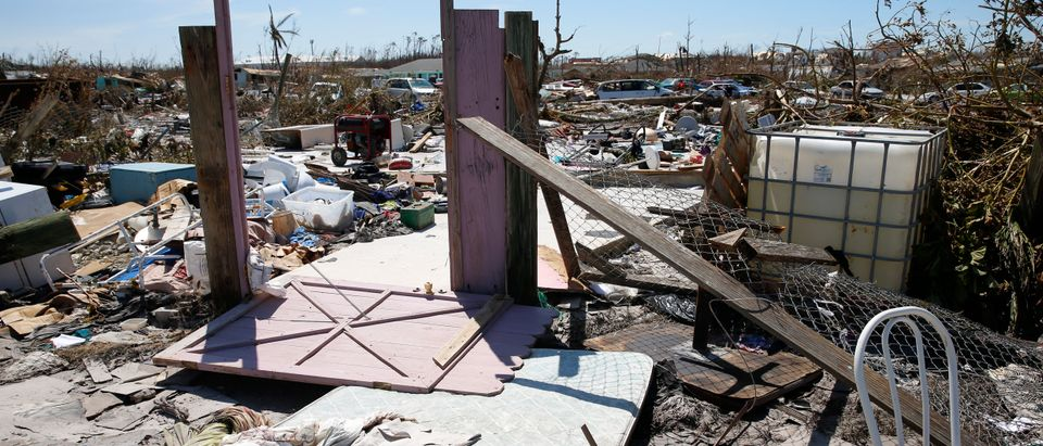 The entrance of what is left of a home is seen after Hurricane Dorian passed through in The Mudd area of Marsh Harbour on Sept. 5, 2019 in Great Abaco Island, Bahamas. (Jose Jimenez/Getty Images)