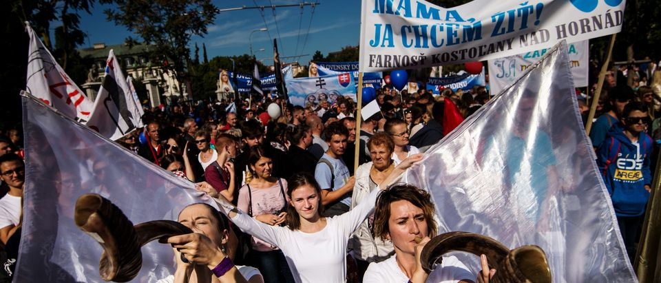 "Thousands of participants march during an anti-abortion protest titled ""National March for Life,"" demanding a ban on abortions, in Bratislava, Slovakia, on Sept. 22, 2019. (Photo: VLADIMIR SIMICEK/AFP/Getty Images)"
